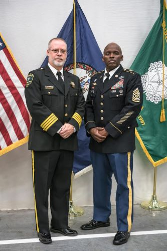 CSM Ronald L. Smith and Superintendent Jeffery Newton
