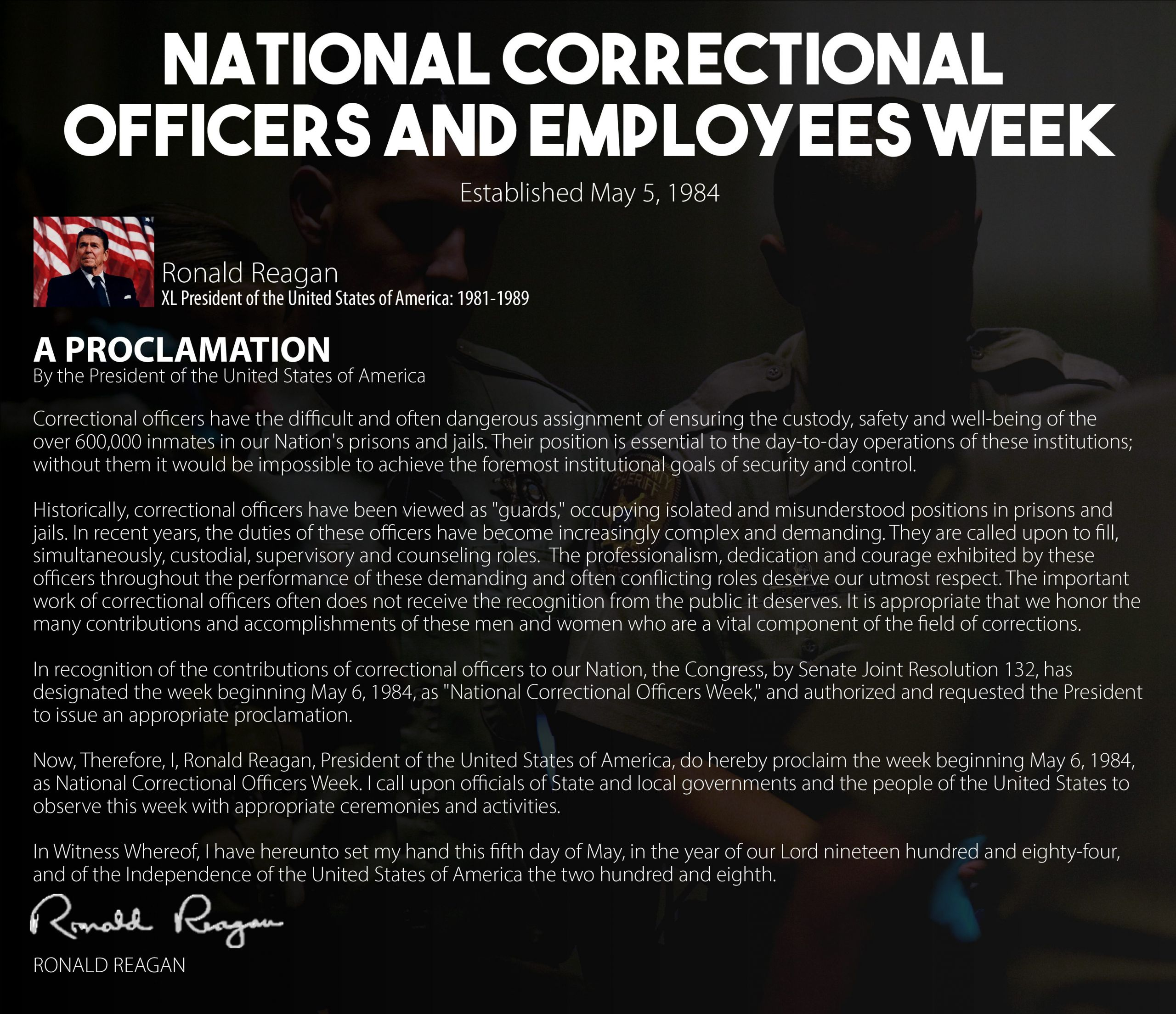 National Correctional Officers and Employees Week