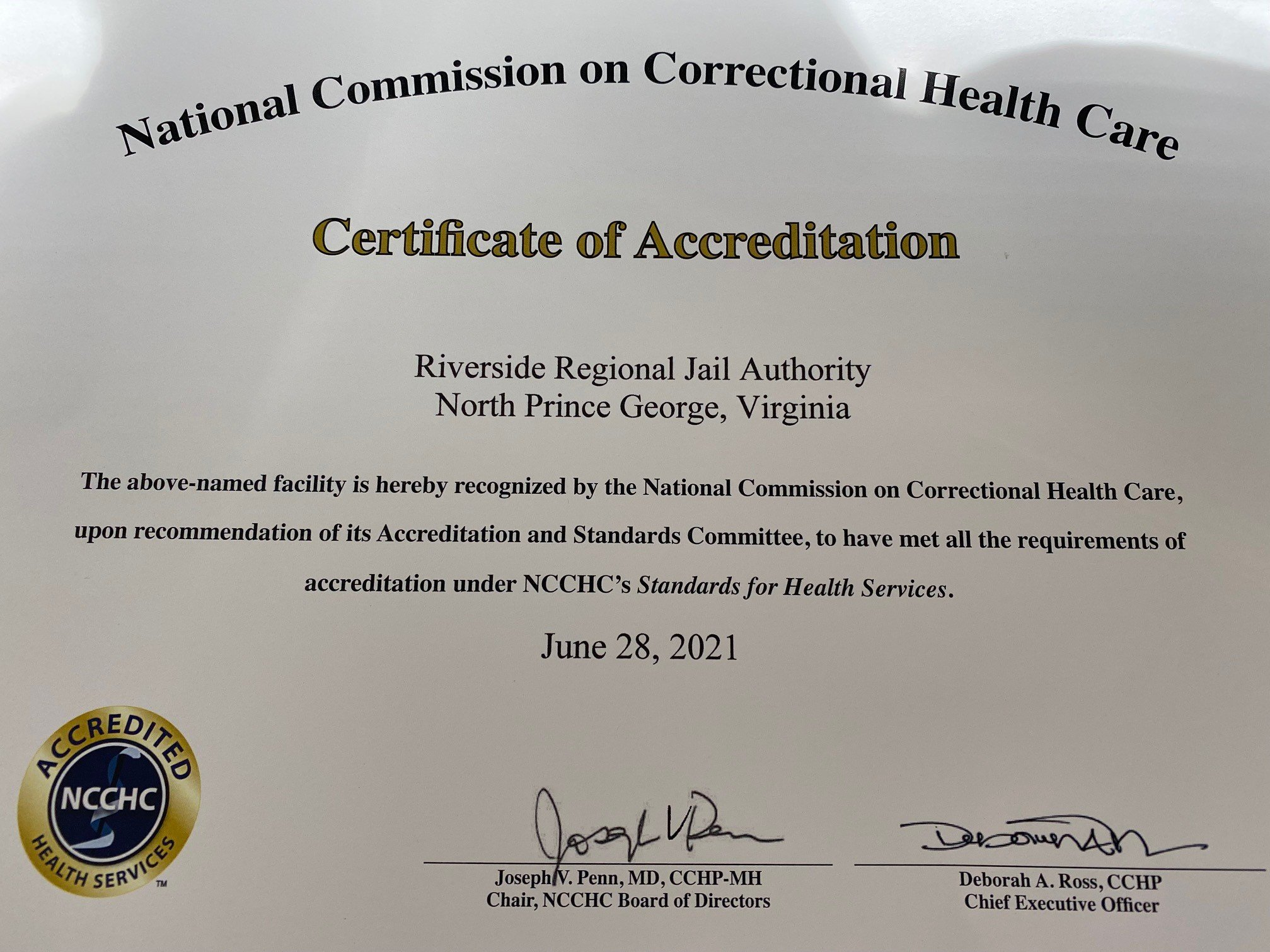 National Commission on Correctional Health Care Certificate